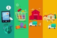 Prozess des on-line-Internet-Kaufs Lizenzfreie Stockfotografie