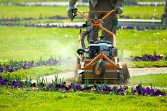 Prozess des Rasens mähend, Konzept des Mähens des Rasens, Rasenmäherausschnittgras mit Gartenarbeitwerkzeugen stockbilder
