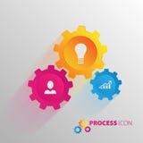 Prozess und Rad, Zahnrad Netzkommunikation mechanisch vektor abbildung