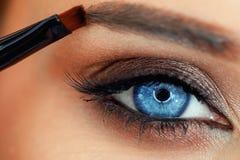 Prozess von Augenbrauensorgfalt Menschliches Auge Lizenzfreie Stockbilder