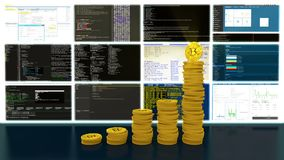 Prozess von Bergbau bitcoins cryptocurrencies Schleife stock footage