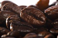 Prozess von Bratkaffeebohnen stockbilder