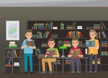 Prozess von Lesebüchern in der pädagogischen Bibliothek stock abbildung