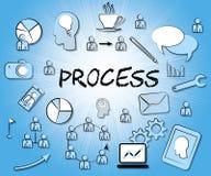Prozessikonen-Durchschnitte, die Aufgabe und die Verarbeitung sich aufnehmen Stockfoto