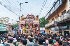 Prozession hindischen des Gott Ram, Sita und des Hanuman Stockfotos
