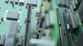 Prozessor auf Motherboardansicht stock video footage