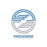 Prozessor CPU - vector Logoschablone für Unternehmensidentitä5 Abstraktes Computer-Chip-Zeichen Netz, Internet-Technologiekonzept Stockbild