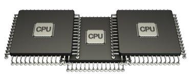 Prozessor mit drei Computer-Chips. 3D. getrennt Stockfotos
