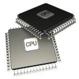 Prozessor mit zwei Computer-Chips. Ikone 3D. getrennt Stockbilder