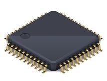 Prozessor oder elektronischer Chip auf einem wei?en Hintergrund mit weichem realistischem Schatten Isometrischer Vektor stock abbildung