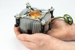 Prozessorkühlvorrichtung im men& x27; s-Hände lizenzfreies stockfoto