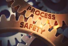 Prozesssicherheit auf goldenen Zahnrädern Abbildung 3D Stockbilder