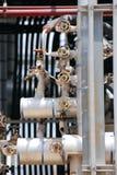 Prozessventile und Rohrleitung Stockfotografie