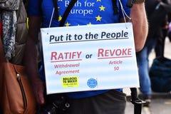Prozweites Referendum Brexit, Antiurlaubprotestierender außerhalb der Parlamentsgebäude Westminster London 28. M?rz 2019 lizenzfreie stockfotografie