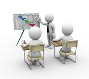 présentation de diagramme de Gantt de l'homme d'affaires 3d Images stock