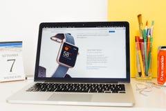 Präsentationsherzfrequenz-Sensor Apple-Computer Website, Stockfotos