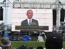 Präsident Barack Obama und seine Mitteilung Stockbild