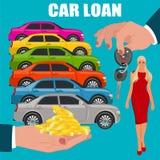 Préstamo de coche, manos que llevan a cabo el dinero y las llaves, ejemplo del vector, estilo plano Foto de archivo