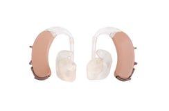 Próteses auditivas de BTE com curvas do trajeto Fotografia de Stock