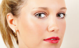 Prtetty young woman. Closeup portrait of a pretty young blond woman Stock Photo
