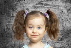 Prtret child against the wall Royalty Free Stock Images