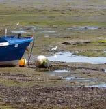 Prua della barca blu attraccata fotografia stock libera da diritti