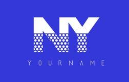 Prucken bokstav Logo Design för NY N Y med blå bakgrund Royaltyfria Foton