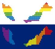Prucken Malaysia för spektrum PIXEL översikt royaltyfri illustrationer