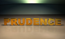 Prudence 3D Text in gold Stock Photos