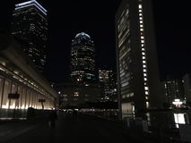 Prudential center from reflection pool. Reflection pool view of Stock Photo