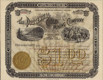 1896 The Prudential Gold Mining Company Stock Certificate - Colorado royalty free stock images