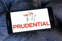 Prudential plc financial services company logo. Logo of Prudential plc on samsung mobile. Prudential plc is a British multinational life insurance and financial Royalty Free Stock Images