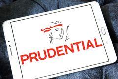 Prudential plc financial services company logo. Logo of Prudential plc on samsung tablet. Prudential plc is a British multinational life insurance and financial Royalty Free Stock Photo