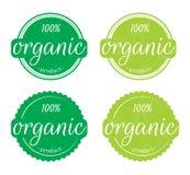 Pruduct organique 100%, exprimant la conception, illustration d'un label/d'autocollant organiques sur le fond blanc illustration de vecteur