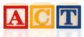 Prueba americana de la universidad del ACTO de los bloques del alfabeto Foto de archivo
