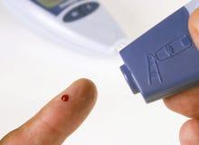 Prueba de la glucosa de sangre Imagen de archivo
