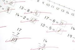 Prueba de la matemáticas, escuela primaria Fotografía de archivo libre de regalías