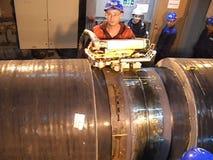 Prueba de las radiografías de la junta soldada con autógena Radiografía de la soldadura Preparación y montaje del gaseoducto suba almacen de video