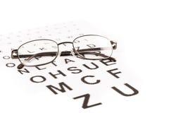 Prueba de los ojos con los vidrios Foto de archivo libre de regalías