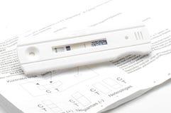 Prueba e instrucción negativas de embarazo en el blanco foto de archivo