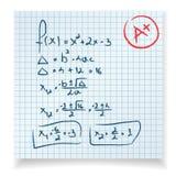Prueba y examen de la matemáticas Fotografía de archivo libre de regalías
