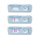 Pruebas de embarazo fijadas Resultado positivo y negativo Mujer embarazada de la prueba del examen Vector Foto de archivo