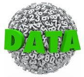 Pruebas de la información de los resultados de investigación de la esfera del número de la palabra de datos Imágenes de archivo libres de regalías