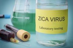 Pruebas para la investigación del virus de Zika Foto de archivo libre de regalías