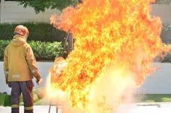 Pruebe la explosión en un fuego de la cocina Fotos de archivo libres de regalías