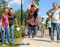Pruebe su fuerza en saltos de longitud Foto de archivo libre de regalías