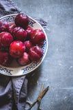 Prugne delle varietà differenti in un piatto ceramico bianco Fotografie Stock Libere da Diritti