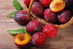 Prugne fresche che cadono da un canestro Immagini Stock Libere da Diritti