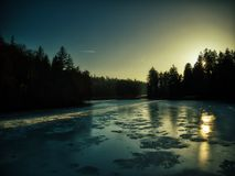 Pruhonice frozen lake sunset drone royalty free stock photography