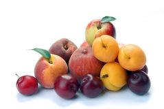 Pruim, abrikoos en perzik stock afbeeldingen